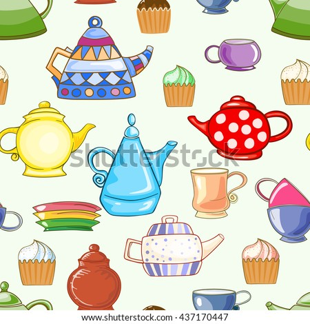 Seamless pattern of hand-drawn and colored, teapots, cups, saucers and cupcakes.