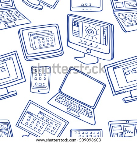 seamless pattern of hand drawn doodles of electronic gadgets. Computer, laptop, monitor