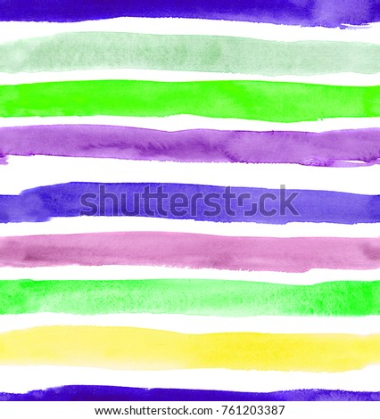 seamless pattern of hand made colorful brush stroke watercolor stripes