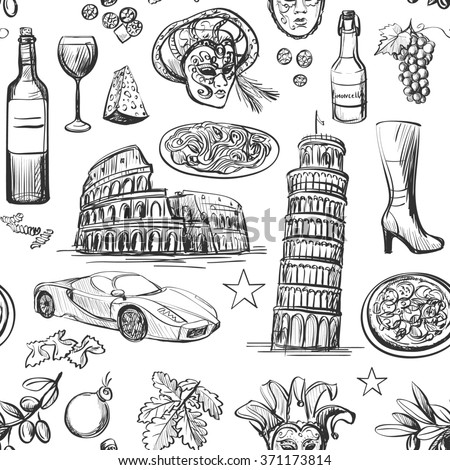 Seamless pattern of Italy with Colosseum, Pompeii, Vatican, Leaning Tower of Pisa, Venice, pizza, wine, carnival mask