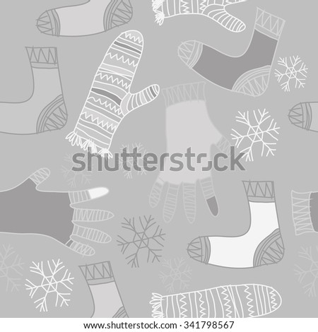 Seamless    pattern  of knitwear  motifs, doodles, objects,snowflakes, mittens, socks. Hand drawn.
