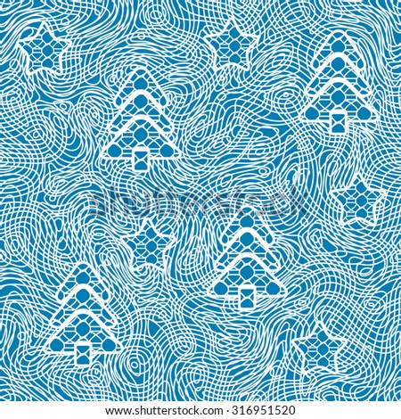 Seamless pattern of lace fabric with decor of christmas tree and stars. Raster version - stock photo