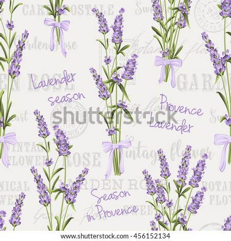 Seamless pattern of lavender flowers on a gray background. Watercolor pattern with Lavender for fabric swatch. Seamless pattern for fabric.