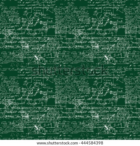 Seamless pattern of mathematical operation and equation, endless arithmetic pattern on seamless green chalk boards. Handwritten calculations. Geometry, math, physics, electronic engineering subjects. - stock photo