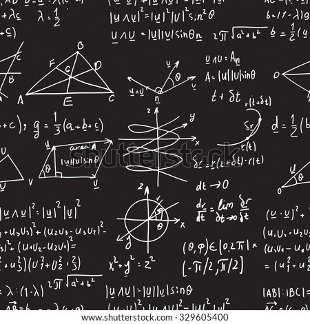 Seamless pattern of mathematical operations and elementary functions, endless arithmetic on seamless chalk boards. Handwritten solutions. Geometry and mathematics subjects. Lectures. - stock photo