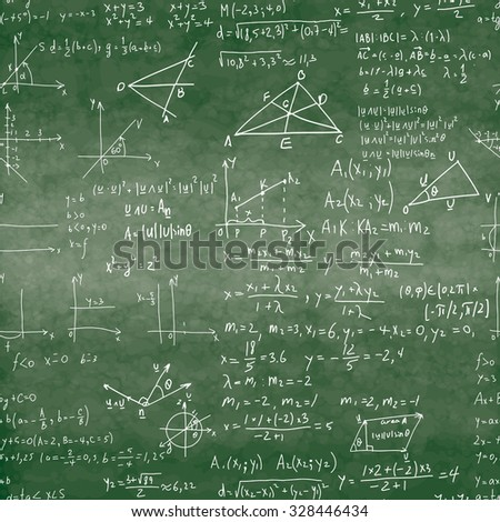 Seamless pattern of mathematical operations and elementary functions, endless arithmetic on not seamless chalk boards. Handwritten solutions. Geometry and mathematics subjects. Lectures.