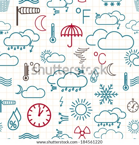 Seamless pattern of multicolored weather symbols on white checkered background. Raster version. - stock photo