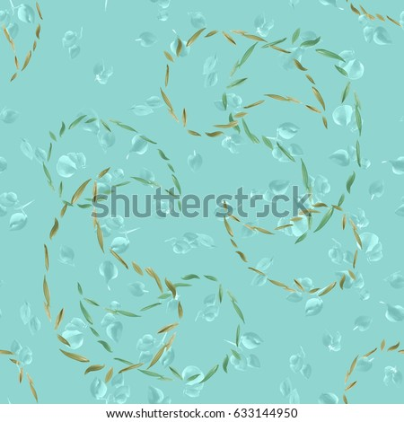 Seamless pattern of outlines of Indian cucumber and turquoise leaves on a turquoise background. Watercolor