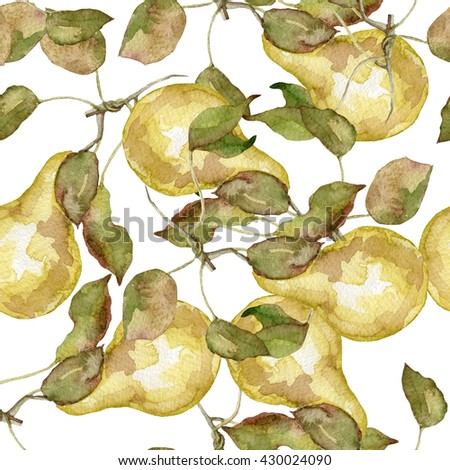Seamless pattern of pears watercolor on white - stock photo