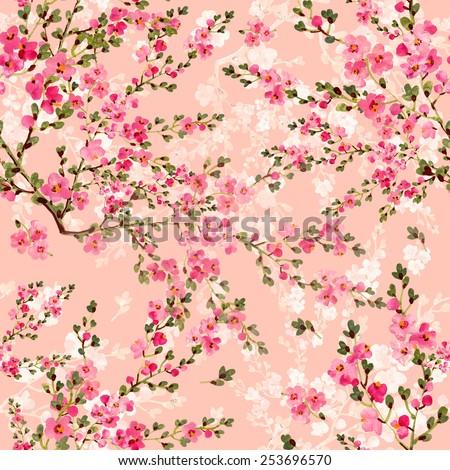 Seamless pattern of pink blooming garden - stock photo