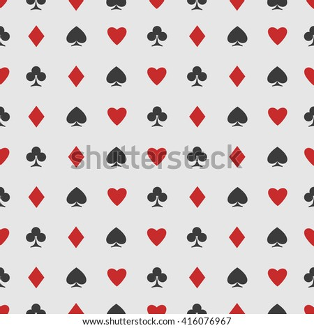 seamless pattern of playing card suits on white. background design. hearts, spades, diamonds and clubs symbol. casino and poker rooms wallpaper