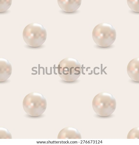 seamless pattern of realistic golden pink pearls - stock photo