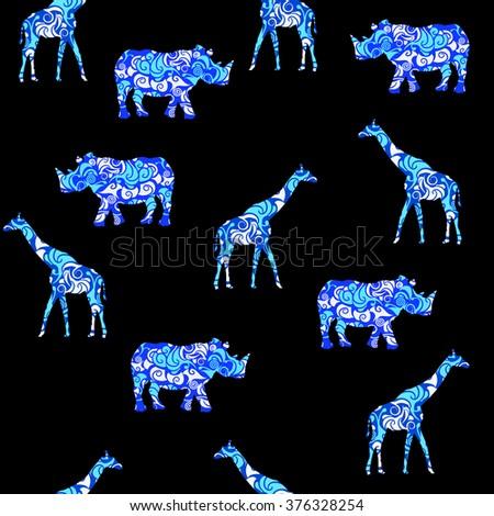 seamless pattern of rhinoceros and giraffe - stock photo