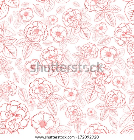 Seamless pattern of roses with leafs, red on white. Raster version.