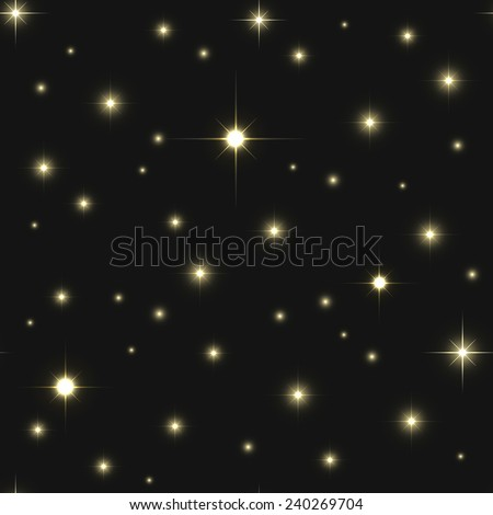 Seamless pattern of space, bright golden stars on the black background - stock photo