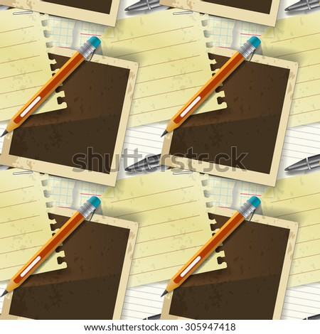 Seamless pattern of stationery, pen and paper - stock photo
