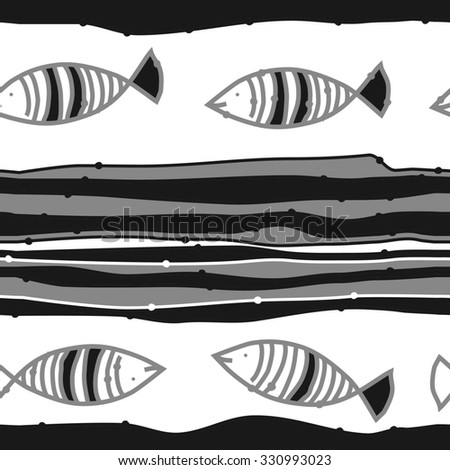 Seamless   pattern of striped motif,spots, stripes, doodles, fishes. Hand drawn.