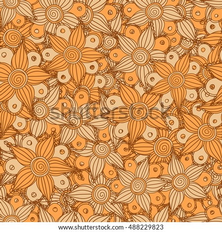 Seamless pattern of stylized floral motif, flowers, hole, spots, doodles in orange colors. Hand drawn. Seamless floral background.