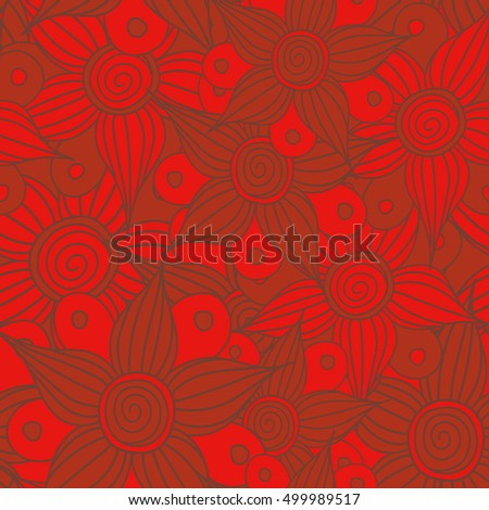 Seamless pattern of stylized floral motif, flowers, hole, spots, doodles in red colors. Hand drawn. Seamless floral background.