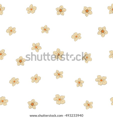 Seamless pattern of stylized floral motif, many small flowers, hole, spots on white background. Hand drawn small beige flowers. Seamless floral background in beige colors.