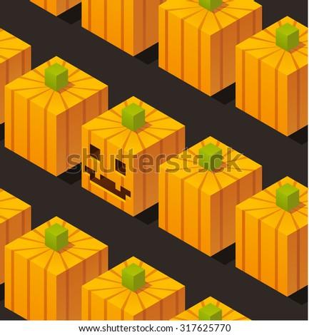 Seamless pattern of stylized isometric cartoon halloween pumpkins. - stock photo
