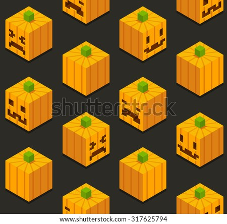 Seamless pattern of stylized isometric cartoon halloween pumpkins with different faces. - stock photo
