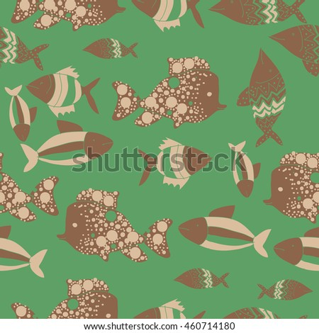 Seamless pattern of  stylized  motif, doodles,  spot,fishes,ellipses, zigzag . Hand drawn.