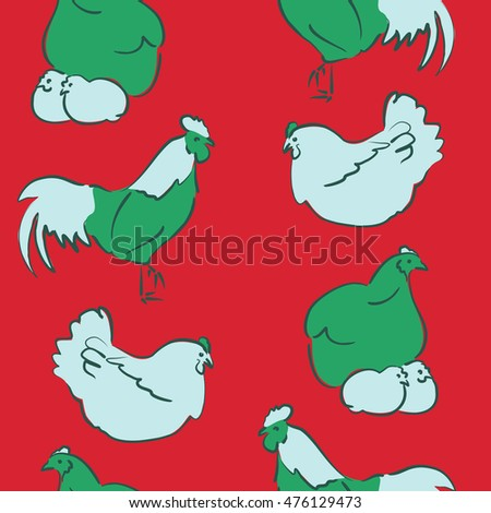 Seamless pattern of stylized rooster, hen, cock, chicken with hole and spots on colored background. Hand drawn. Colorfil seamless cock and hen background.