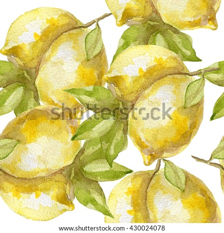 Seamless pattern of sweet juicy lemon watercolor on white - stock photo