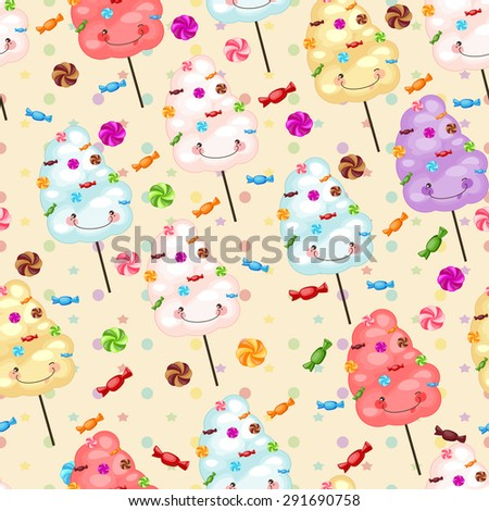 Seamless pattern of sweets, cotton candy, lollipops, little colored stars, circles. Baby gift seamless background of cotton candy, candy, candy. - stock photo