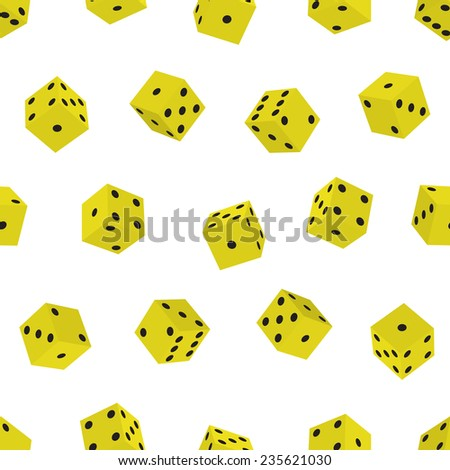 Seamless pattern of the dice cubes - stock photo