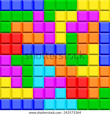 Seamless pattern of the tetris game elements - stock photo