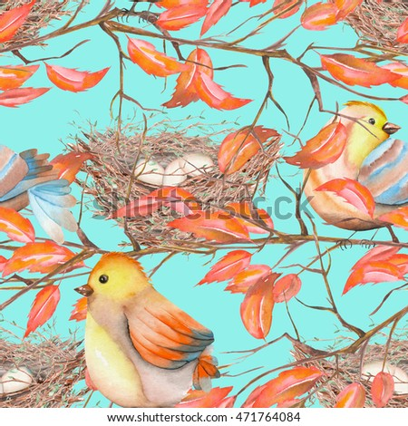 Seamless pattern of the watercolor birds and nests on the tree branches with red leaves, hand drawn on a blue background