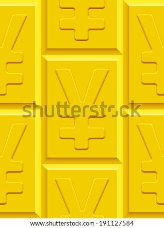 Seamless pattern of the Yen and yuan symbol plates  - stock photo