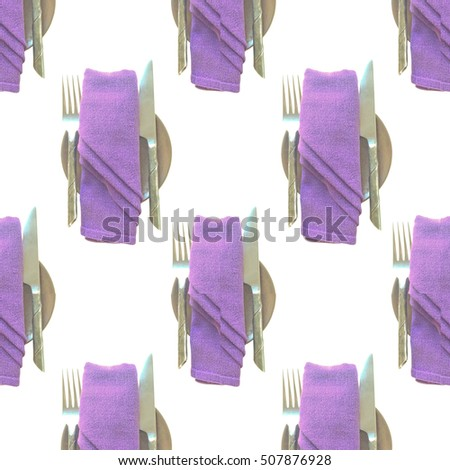 seamless pattern of tool set on dinner table