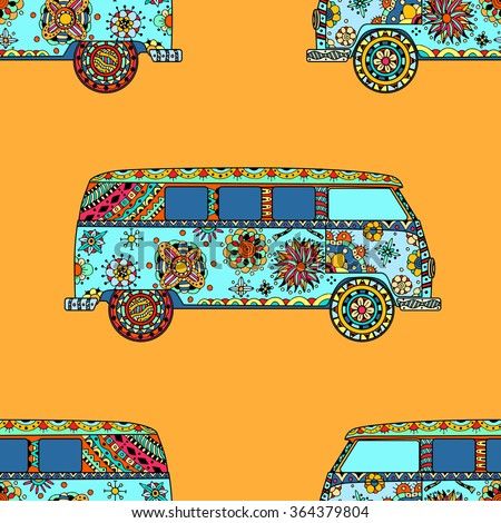 Seamless Pattern of Vintage car a mini van in zentangle style. Hand drawn image. The popular bus model in the environment of the followers of the hippie movement. Art illustration.  - stock photo