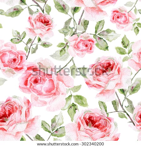 Seamless pattern of watercolor pink roses. Illustration of flowers. Vintage style