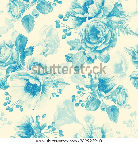 Seamless pattern of watercolor poppies and roses. Illustration of flowers. Blue monochrome color. Can be used for gift wrapping paper, background of Valentine's day, birthday, mother's day and so on. - stock photo