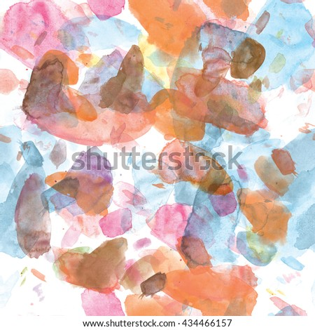 Seamless pattern of watercolor stains: blue, pink, orange blotches on a white background.