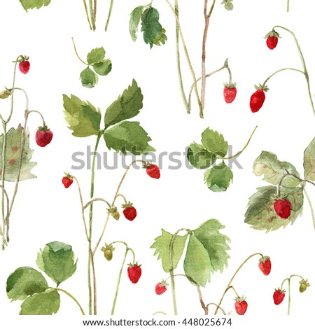 Seamless pattern of watercolor strawberry isolated on white background. Wild berry. Illustration.