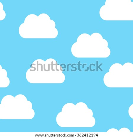 Seamless pattern of white clouds on light blue sky
