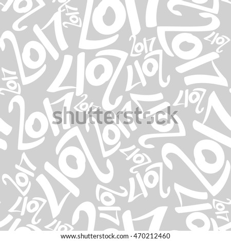 Seamless pattern of white 2017 on gray background. Seamless background.