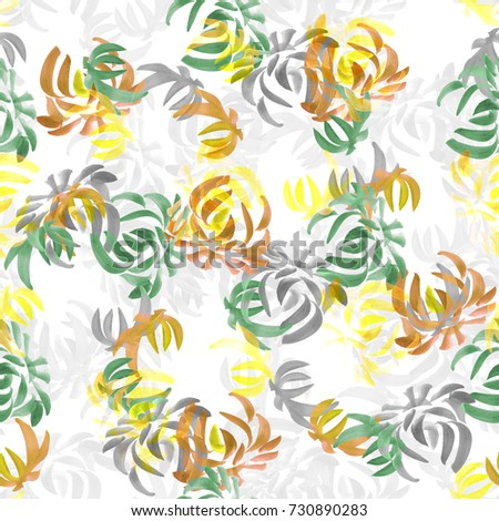 Seamless pattern of wild yellow, orange, green flowers on a white background. Floral background. Watercolor