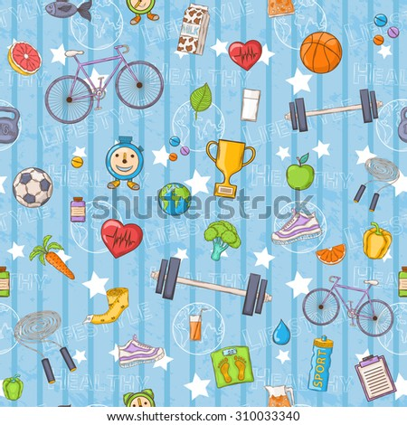 Seamless pattern on a Healthy lifestyle theme with bicycle,carrot, orange,grapefruit,juice,milk,apple,pepper,jump rope,sneakers,fish,vitamins,measuring tape,cup,leaf,earth on a blue background - stock photo