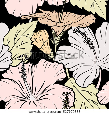 Seamless pattern on black background. Hand drawn painting of hibiscus flowers in beige colors.