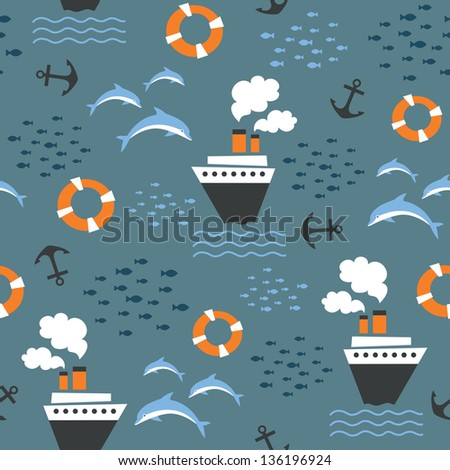 Seamless pattern on marine theme with boat, lifebuoy, dolphin, anchor, school of fish