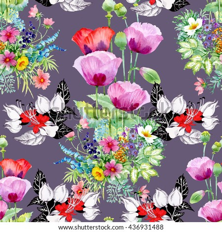Seamless pattern on purple background. Colorful illustration with beautiful poppy and other summer flowers and leaves
