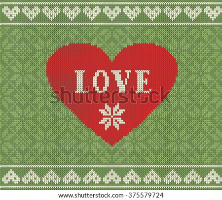 Seamless pattern on the theme of Valentine's Day with an image of the Norwegian patterns and hearts. Wool knitted texture. The inscription love. Illustration. - stock photo