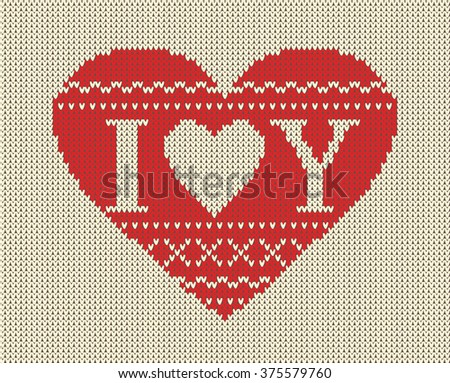 Seamless pattern on the theme of Valentine's Day with an image of the Norwegian patterns and hearts. Wool knitted texture. The inscription I love you. Illustration. - stock photo