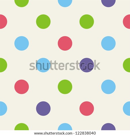 Seamless pattern or texture for background with big colorful polka dots on beige background. For web design, documents template, blog, cards and invitation, - stock photo